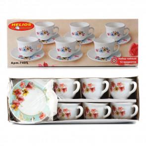 """Набор чайный: чашка 190 мл+блюдце 5,5"""" 6 шт. декорированные"""