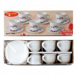 """Набор чайный: чашка 190 мл+блюдце 5,5""""  6 шт. белые"""