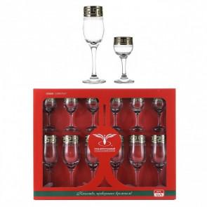 """Набор бокалов для шампанскго и рюмок """"Греческий узор"""" из  12 предметов"""